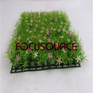 Artificial Grass Carpet -HY0948S   25X25CM GN001 with pink flowers