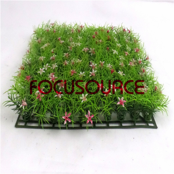 Artificial Grass Carpet -HY0948S   25X25CM GN001 with red flowers Featured Image