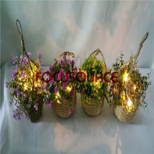 Artifiċjali Mdendlin Basket Pjanti Bil LED Lighting