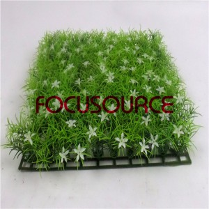 Artificial Grass Carpet -HY0948S   25X25CM GN001 with white flowers