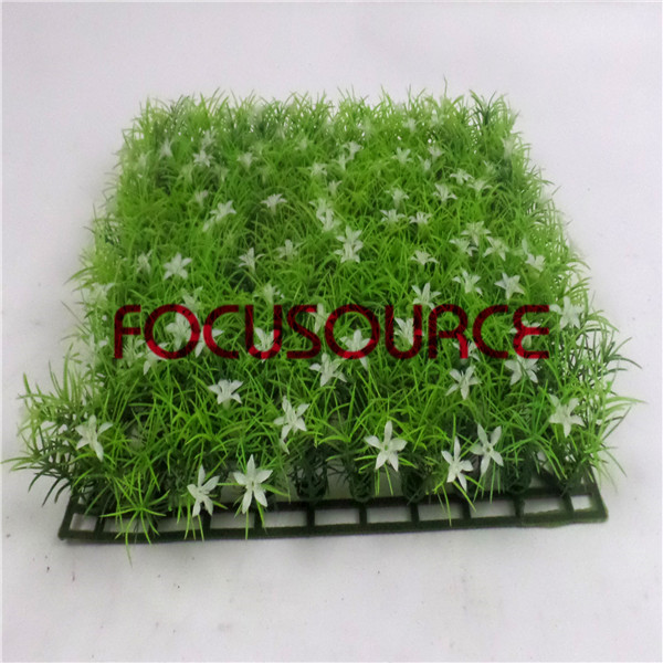 Artificial Grass Carpet -HY0948S   25X25CM GN001 with white flowers Featured Image