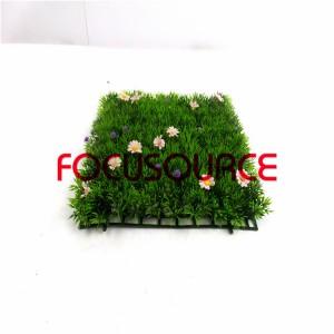 Artificial Grass Turf-HY0947S 4 feet with pink flower  25X25CM GN001