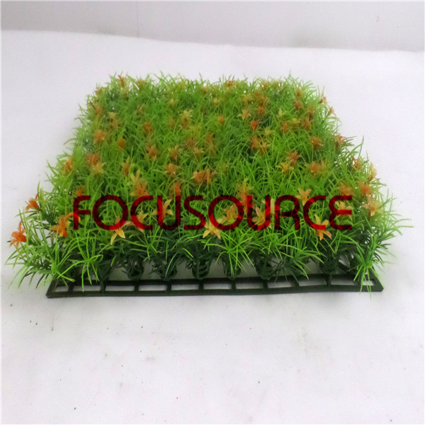 Artificial Grass Carpet -HY0948S   25X25CM GN001 with orange flowers Featured Image